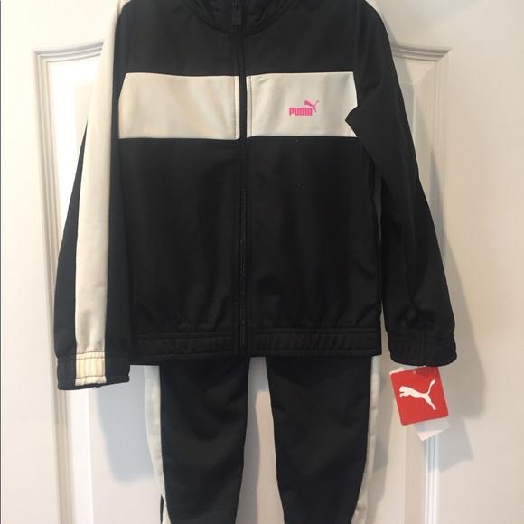 NWT PUMA Baby Girl 2 Piece Set Hoodie Pants Fleece Lined Black//Pink SELECT SIZE